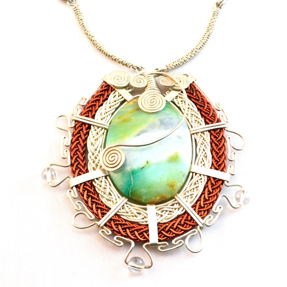 Rumi Sumaq Silver and Copper Peruvian Opal Necklace