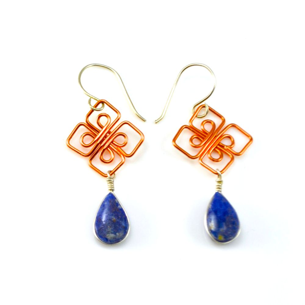 Silver and copper wirework Sisa earrings with Sodalite stones