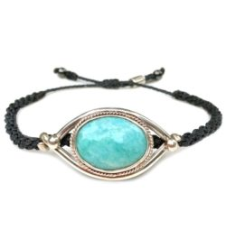 Amazonite silver bracelet with hand-knotted navy rope by designer Coco Paniora Salinas of RUMI SUMAQ jewelry. Handmade on Martha's Vineyard.