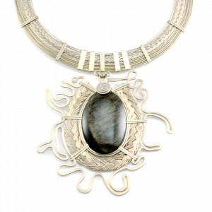Art jewelry wirework necklace by designer Coco Paniora Salinas of Rumi Sumaq rumisumaq.com