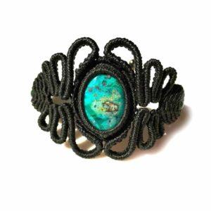 Black Macrame Bracelet by Designer Coco Paniora Salinas of Rumi Sumaq