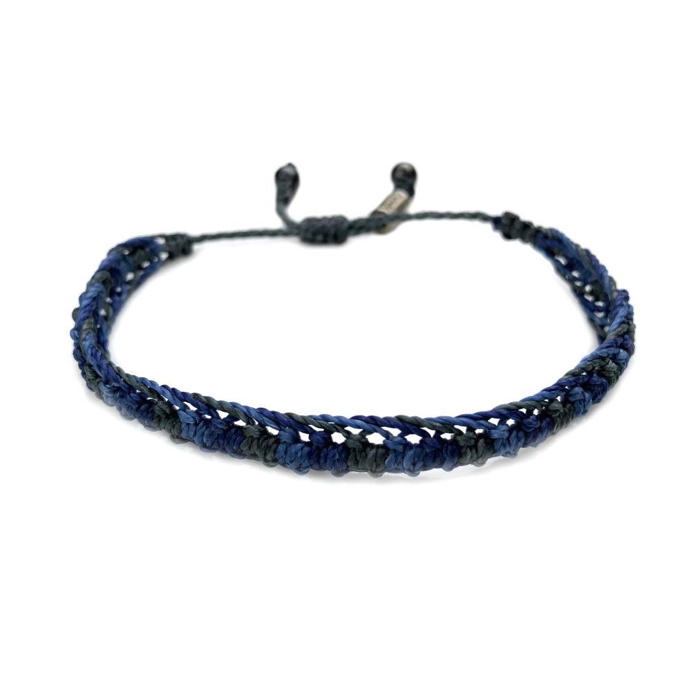 Braided bracelet blue gray   RUMI SUMAQ woven surfer bracelets handmade on the beautiful island of Martha's Vineyard