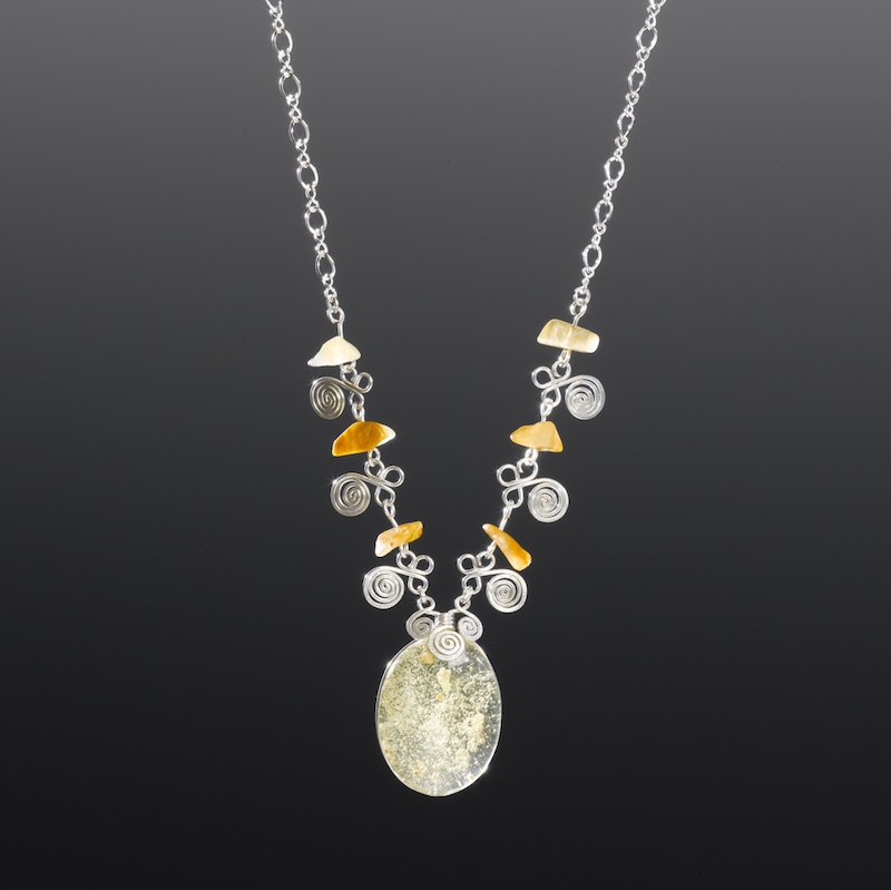 Silver necklace with Amber by Coco Paniora Salinas of Rumi Sumaq rumisumaq.com