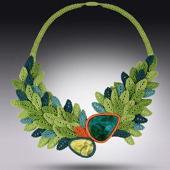 Fiber art macrame necklace Primavera Rising by designer Coco Paniora Salinas of Rumi Sumaq rumisumaq.com