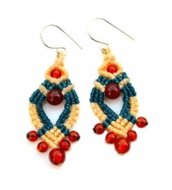 Fire Agate Macrame Earrings by Rumi Sumaq