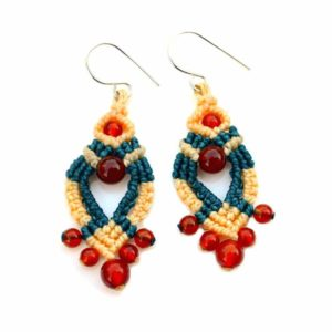 Fire Agate Macrame Earrings by Rumi Sumaq
