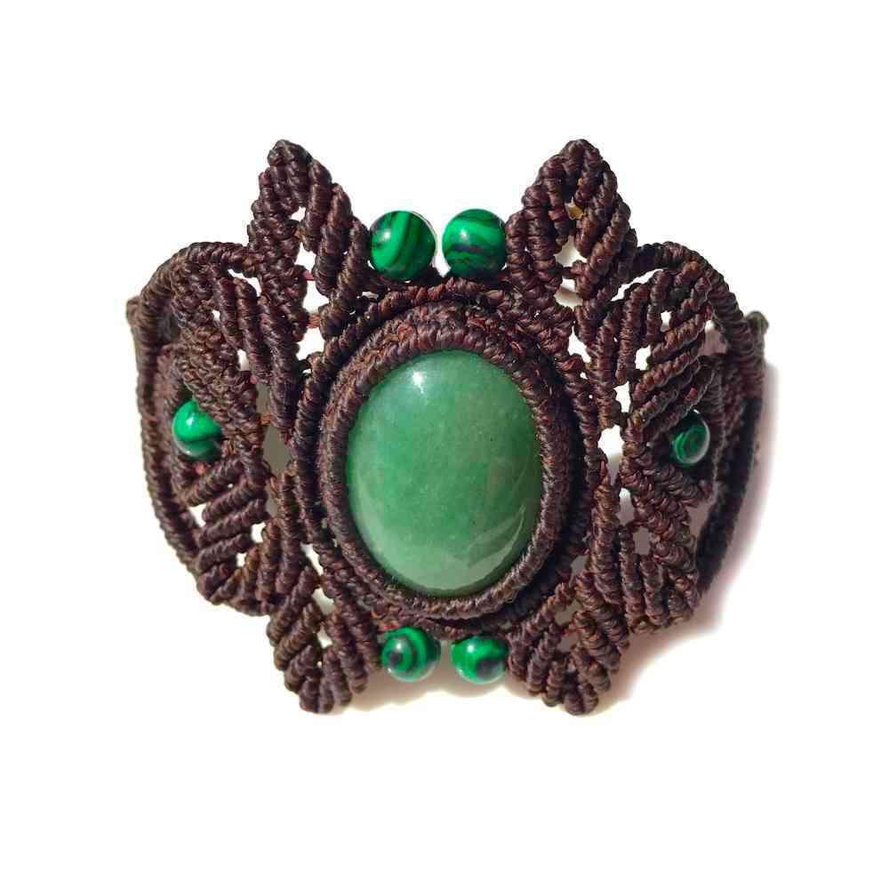 Jade macrame bracelet by designer Coco Paniora Salinas of Rumi Sumaq
