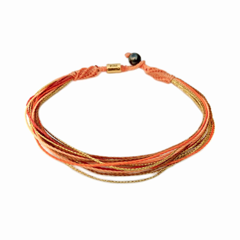 Macrame anklet in peach, orange and metallic gold waterproof waxed cord | Rumi Sumaq handmade beach jewelry from Martha's Vineyard