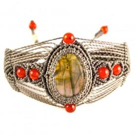 Fiber art jewelry macrame bracelet by Coco Paniora Salinas of Rumi Sumaq rumisumaq.com