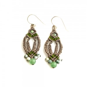 Fiber art macramé earrings by designer Coco Paniora Salinas of Rumi Sumaq rumisumaq.com
