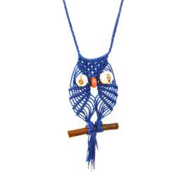 Macrame owl necklace by designer Coco Paniora Salinas of Rumi Sumaq rumisumaq.com