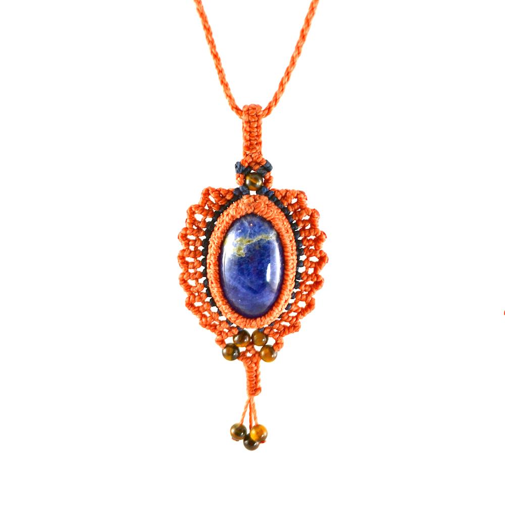 Aquinnah pendant macrame necklace by designer Coco Paniora Salinas of Rumi Sumaq rumisumaq.com