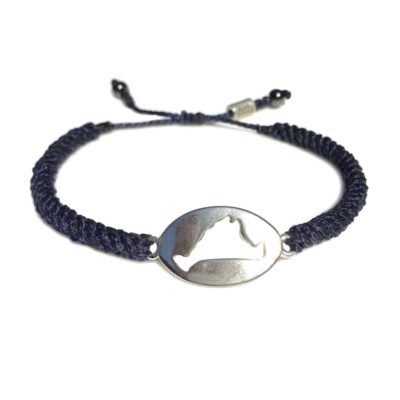 Martha's Vineyard island map bracelet navy rope: Hand-knotted surfer and sailor bracelets handmade on the beautiful island of Martha's Vineyard by RUMI SUMAQ