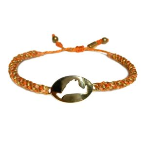 Martha's Vineyard island map bracelet orange peach rope: Hand-knotted surfer and sailor bracelets handmade on the beautiful island of Martha's Vineyard by RUMI SUMAQ