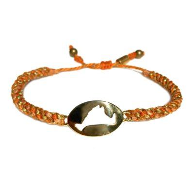 Martha's Vineyard island map bracelet orange peach rope: Hand-knotted surfer and sailor bracelets handmade on the beautiful island of Martha's Vineyard by RUMI SUMAQ