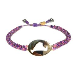 Martha's Vineyard island map bracelet purple pink rope: Hand-knotted surfer and sailor bracelets handmade on the beautiful island of Martha's Vineyard by RUMI SUMAQ