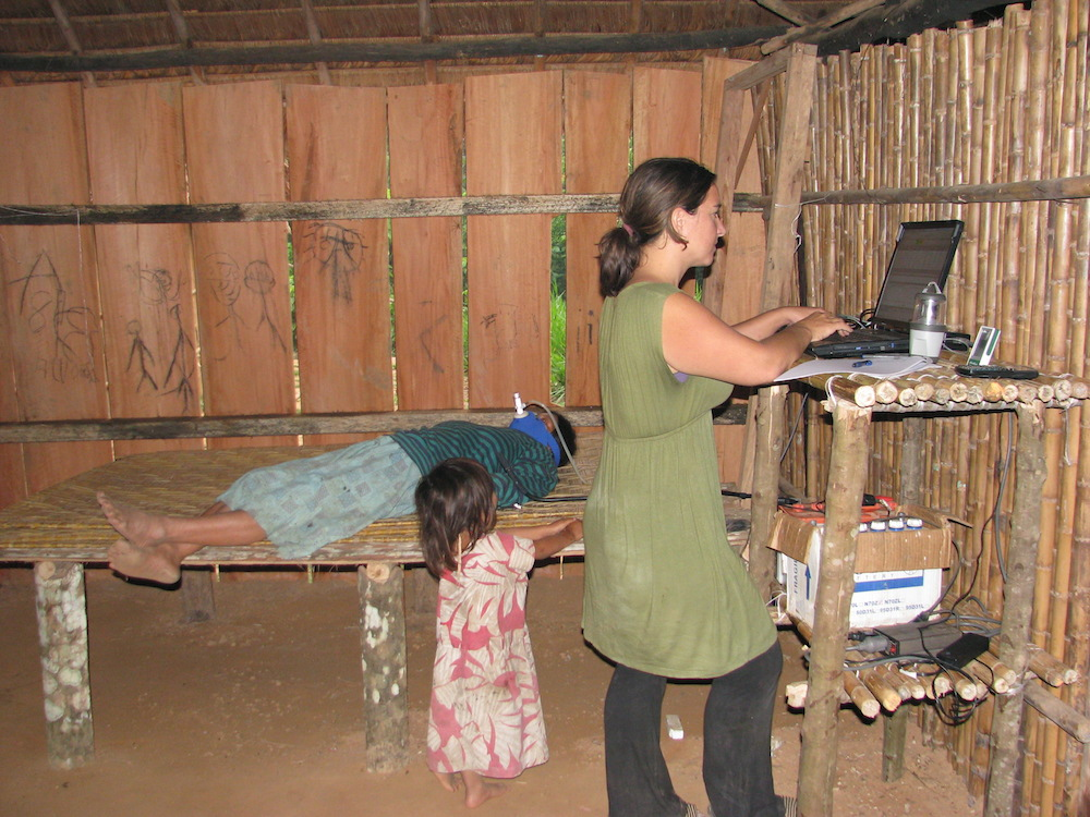 Co-owner of Rumi Sumaq Melanie Vento among the Tsimane of Bolivia