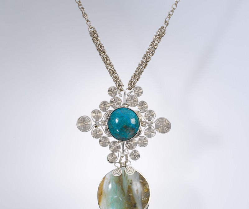Peruvian Opal chainmaille necklace by designer Coco Paniora Salinas rumisumaq.com