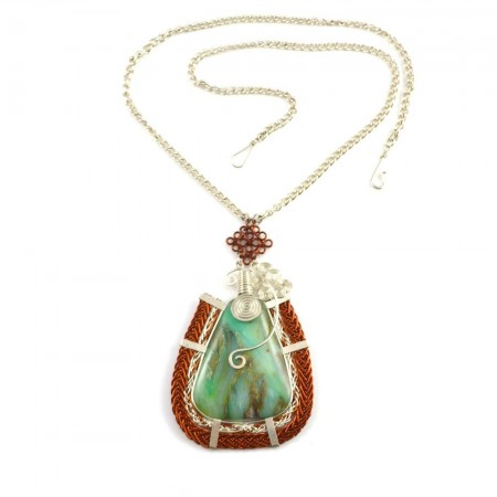 Asway art jewelry wirework necklace with Peruvian Opal stone by designer Coco Paniora Salinas of Rumi Sumaq
