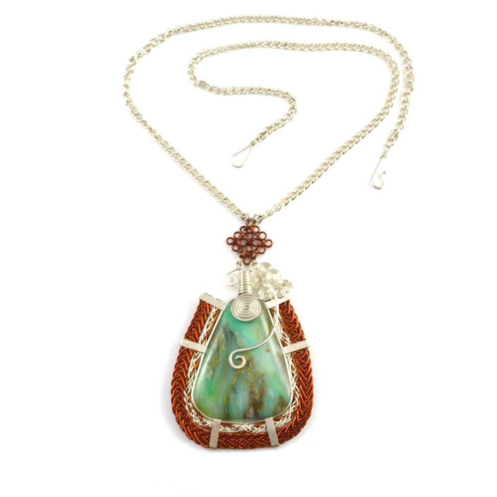 Asway art jewelry wirework necklace with Peruvian Opal stone by designer Coco Paniora Salinas of Rumi Sumaq