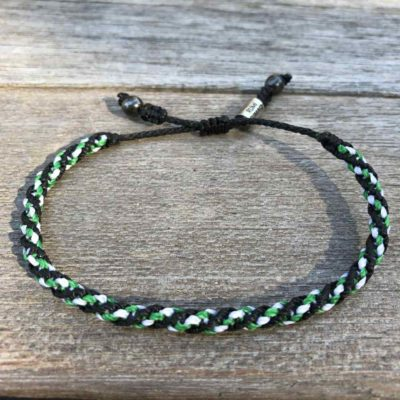 Sailor Rope Bracelet Black Green White: Hand-Knotted Rope Beach Bracelets by RUMI SUMAQ Jewelry. Handmade on Martha's Vineyard by designer Coco Paniora Salinas