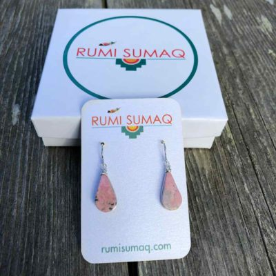 RUMI SUMAQ Rhodonite Pink Stone Sterling Silver Earrings