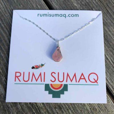 RUMI SUMAQ Rhodonite Pink Pendant Necklace Silver