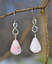 Rumi Sumaq Silver Infinity Earrings with Rose Quartz by Coco Paniora Salinas