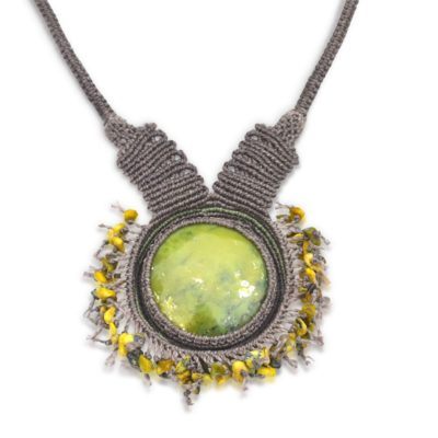 Serpentine fringe macrame necklace by RUMI SUMAQ jewelry. Hand-knotted and one of a kind statement piece.