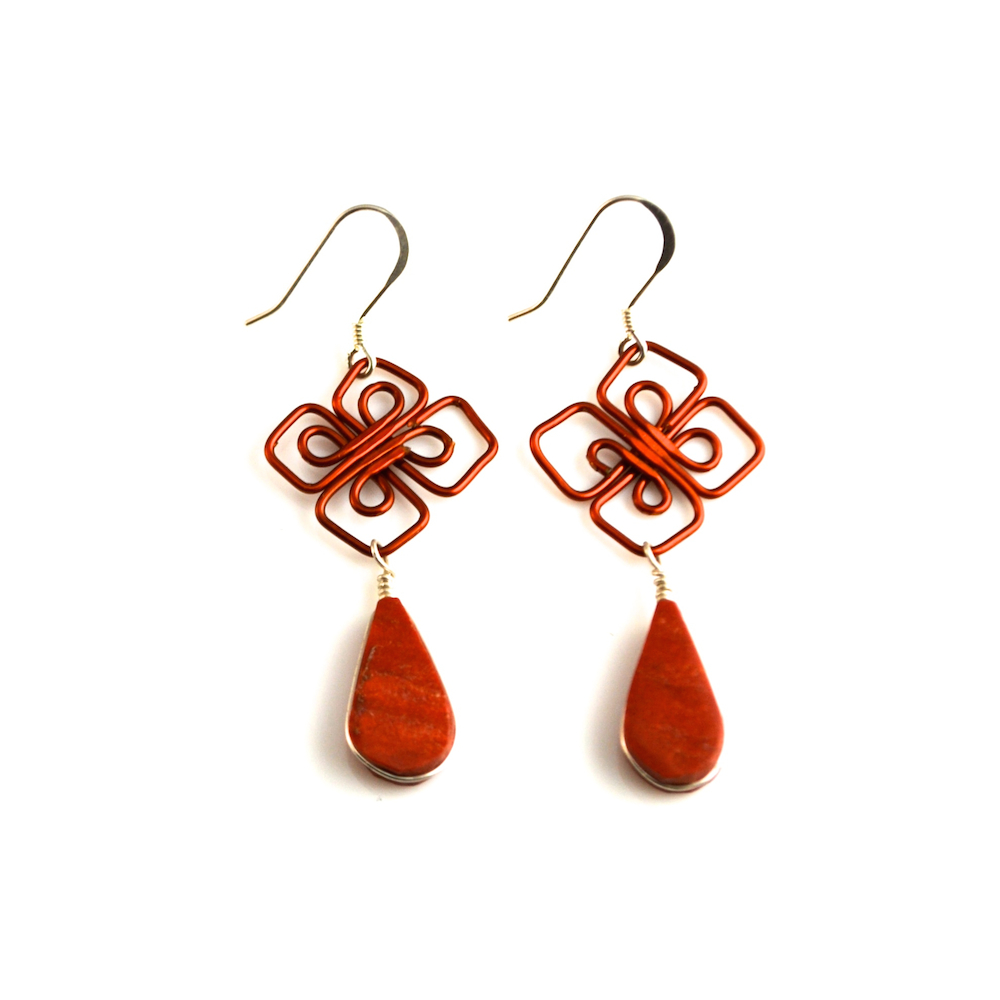 Silver and copper wirework earrings with Jasper stones rumisumaq.com