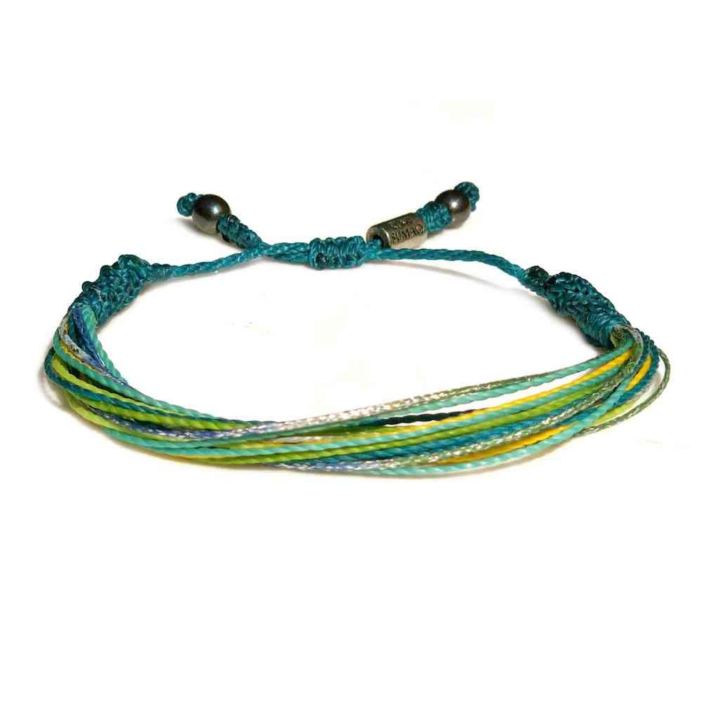 String Surfer Bracelet Aqua Yellow Lime Green Turquoise and Metallic Purple: Handmade on Martha's Vineyard Waxed Cord Sailor and Surf Bracelets by Rumi Sumaq