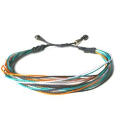 RUMI SUMAQ String Surfer Bracelet Navy Blue Aqua Orange