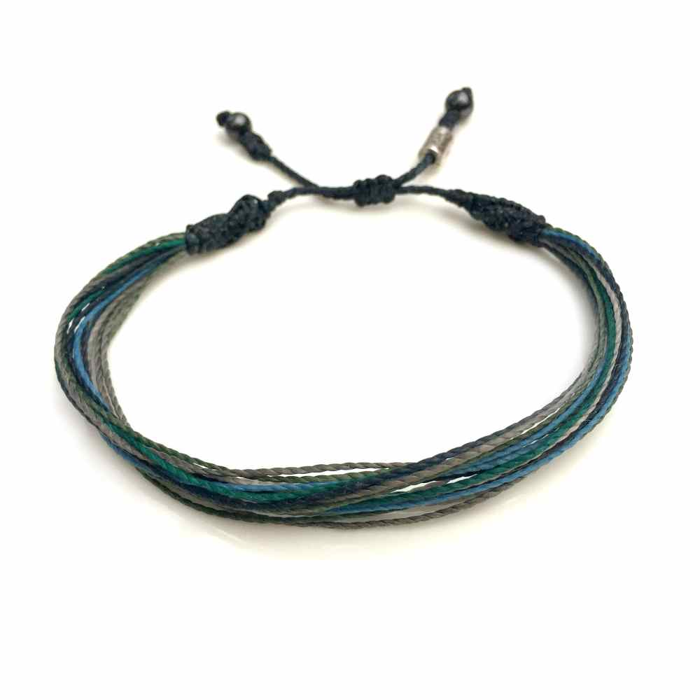 String Surfer Bracelet in Navy Blue Gray Green Multi: Handmade on Martha's Vineyard Waxed Cord Sailor and Surf Bracelets by Rumi Sumaq