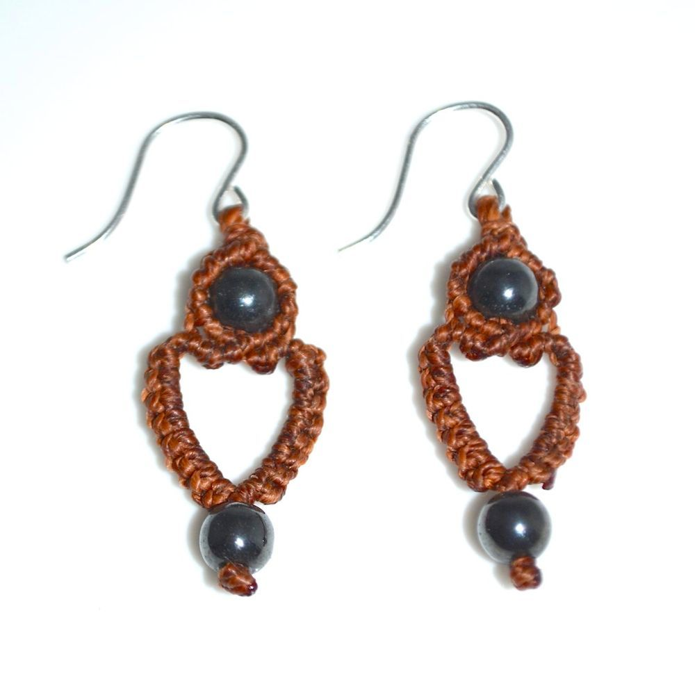 Sunqu macrame heart earrings by designer Coco Paniora Salinas of rumisumaq.com