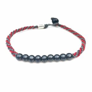Surfer Anklet Gray Red Rope with Beaded Hematite Stones: Rumi Sumaq Jewelry Handmade on Martha's Vineyard