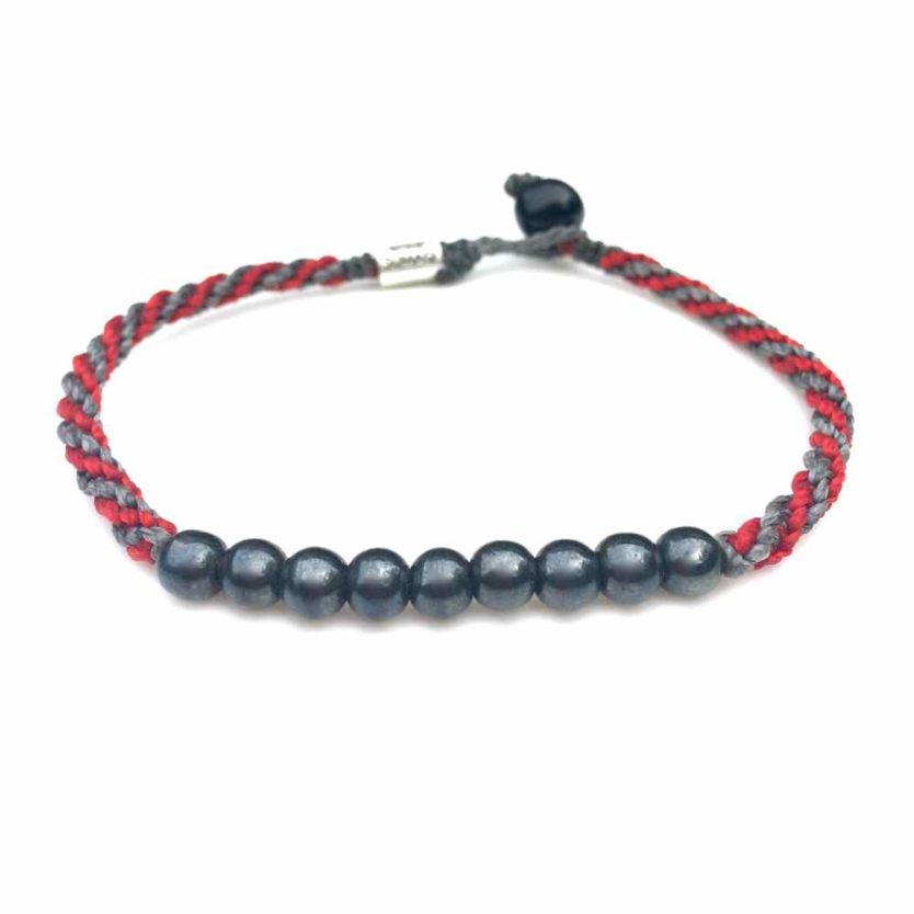 Surfer Anklet Gray Red Rope with Beaded Hematite Stones: Rumi Sumaq Jewelry Handmade on Martha's Vineyard