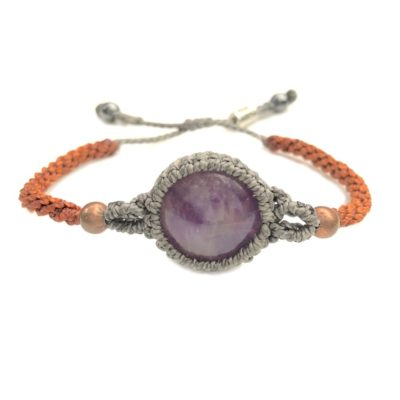 Amethyst bracelet macrame gray and orange hand-knotted waxed cord | Handmade on Martha's Vineyard by designer Coco Paniora Salinas of RUMI SUMAQ Jewelry