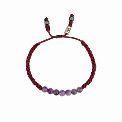 Amethyst Bracelet Maroon Handwoven Cord Adjustable for Men and Women | Rumi Sumaq Summer Rope Bracelets with Gemstones Handmade on Martha's Vineyard