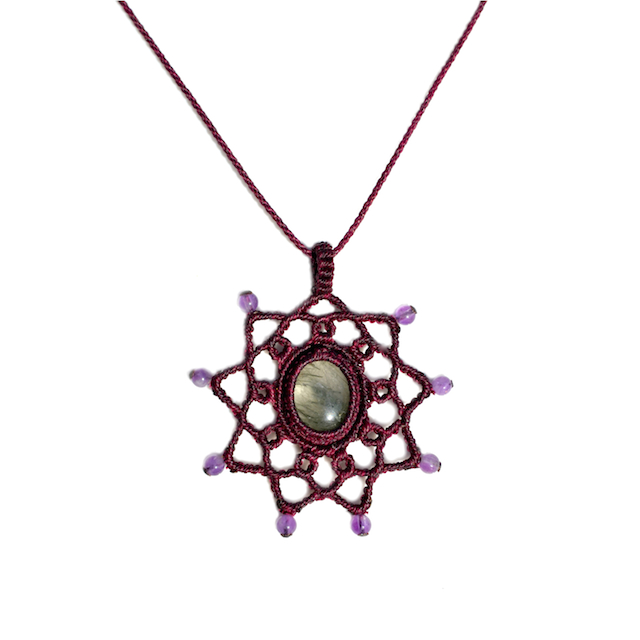 Amethyst Macrame Necklace Martha's Vineyard art jewelry designer Coco Paniora Salinas of Rumi Sumaq
