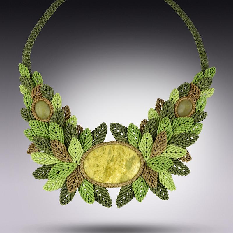Fiber art macrame necklace by Coco Paniora Salinas of Rumi Sumaq rumisumaq.com