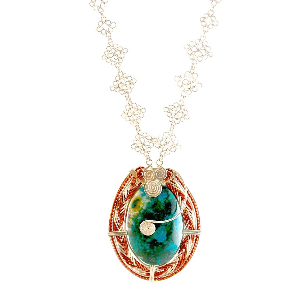 Art jewelry 950 silver Taruka Necklace by designer Coco Paniora Salinas of Rumi Sumaq