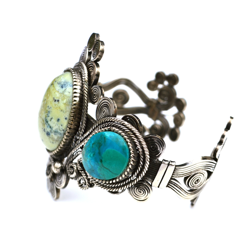 Waqay art jewelry wirework cuff bracelet by designer Coco Paniora Salinas of Rumi Sumaq