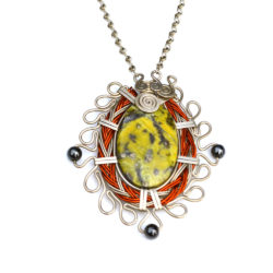 Art jewelry wirework Sawsi Necklace with Serpentine and Hematite stones by designer Coco Paniora Salinas