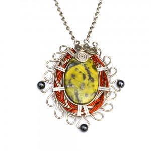 Art jewelry wirework Sawsi Necklace with Serpentine and Hematite stones by designer Coco Paniora Salinas