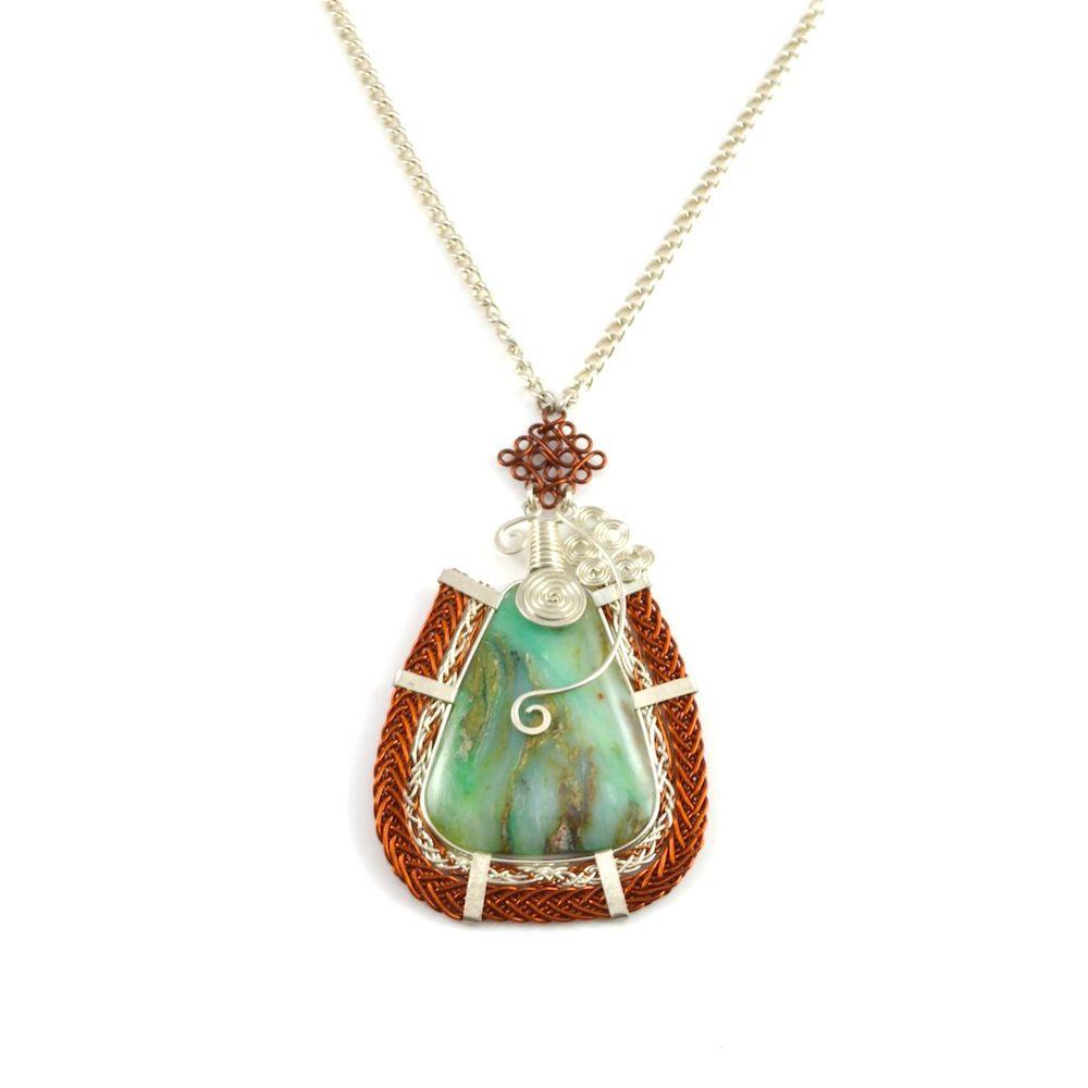 Asway art jewelry wirework necklace by designer Coco Paniora Salinas of Rumi Sumaq