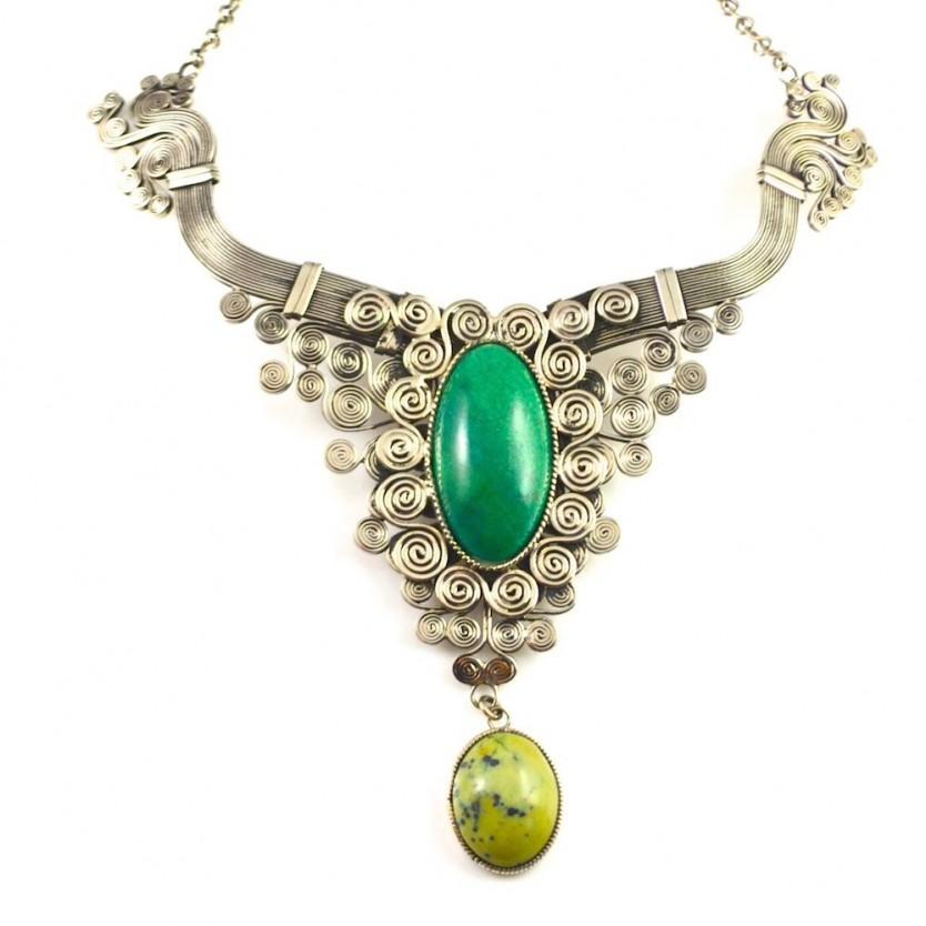 Wirework, art jewelry Hatun Necklace with Chrysocolla and Serpentine stones by designer Coco Paniora Salinas of Rumi Sumaq