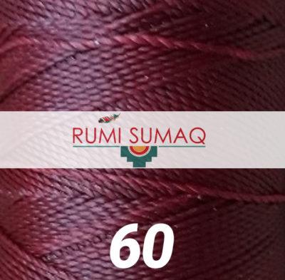 Linhasita 60 maroon waxed 1mm thread | RUMI SUMAQ waxed polyester cord
