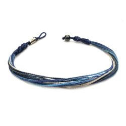 Beach anklet blue gray multi | Handmade on Martha's Vineyard by designer Coco Paniora Salinas of RUMI SUMAQ Jewelry