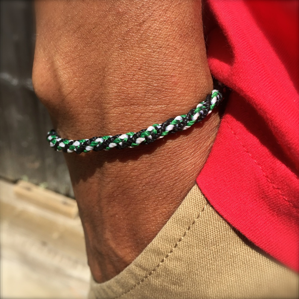 Sailor Rope Bracelet Black Green White: Rumi Sumaq Sailor and Surfer Bracelets Handmade on Martha's Vineyard