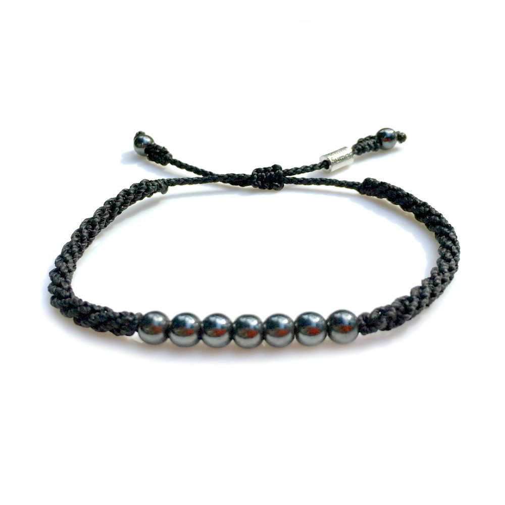 Rope Bracelet Black Hematite Stones - Waxed cord beach sailor and surfer jewelry. Handmade on Martha's Vineyard.